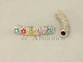 TUBO STRASS CRISTAL FLORES